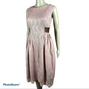 Unbranded pink lace overlay vintage style dress
